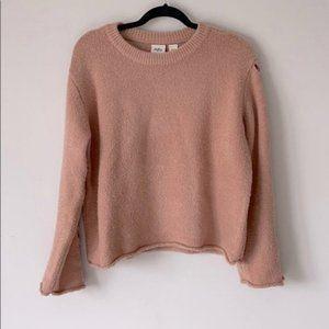 Daytrip Dusty Rose Crewneck Sweater Cutout Sleeve
